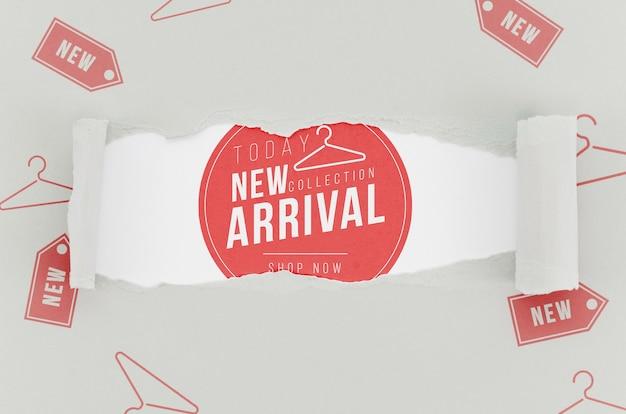 Vista superior tienda nueva maqueta de llegada en papel