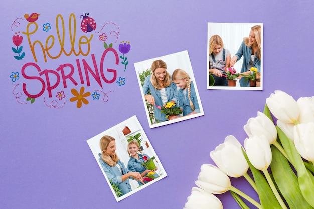 Vista superior de tulipanes con fotos