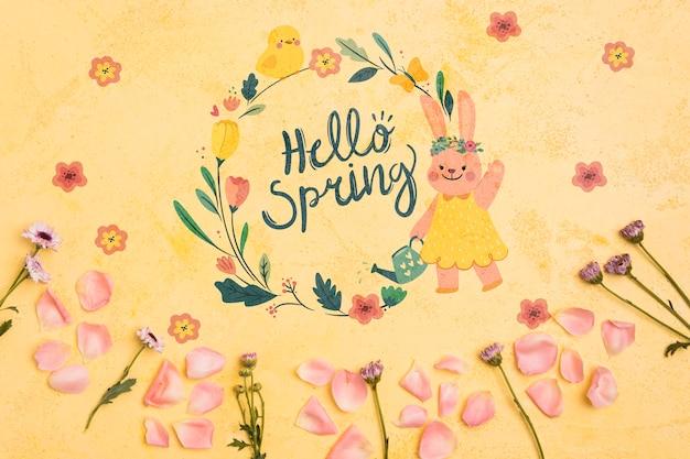 Vista superiore ciao primavera cornice floreale sfondo