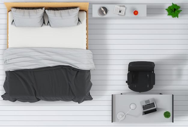 Vista superiore della camera da letto interna con computer portatile.