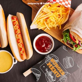 Vista superiore mockup fast food