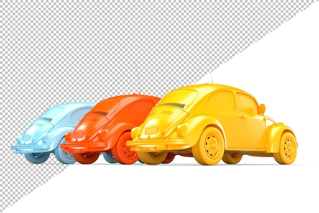 Vista trasera de tres coches de colores antiguos