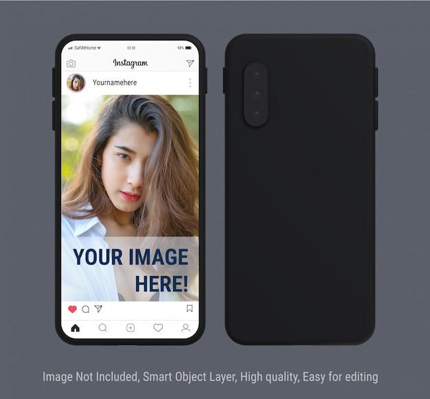 Vistas de teléfonos inteligentes con publicación de instagram