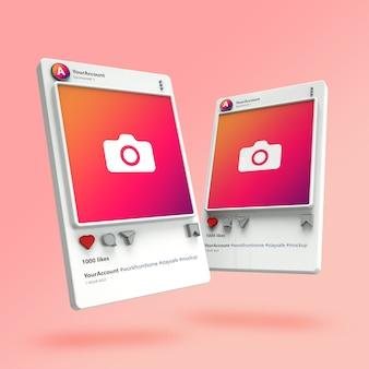 Visualización 3d de maquetas de publicaciones de instagram
