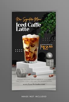 Visualización creativa del menú de bebidas de café con representación de fondo de podio 3d para la plantilla de publicación de instagram