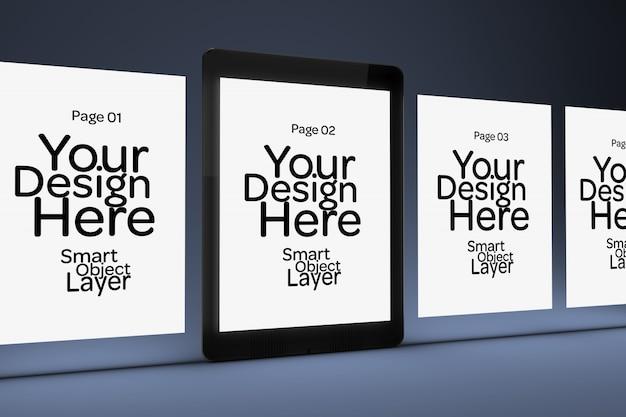 Visualizzazione di 4 pagine web su uno schermo mobile mockup