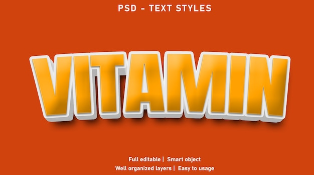 Vitamine teksteffect stijlsjabloon
