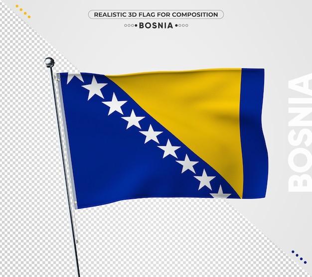 Vlag van bosnië met realistische textuur