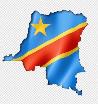 Vlag van de democratische republiek congo kaart