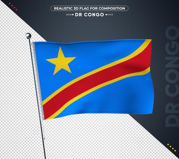 Vlag van dr congo met realistische textuur