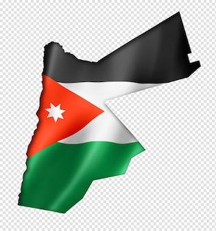 Vlag van jordanië kaart in driedimensionale render geïsoleerd