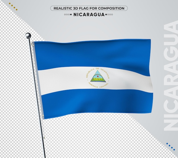 Vlag van nicaragua met realistische stijl
