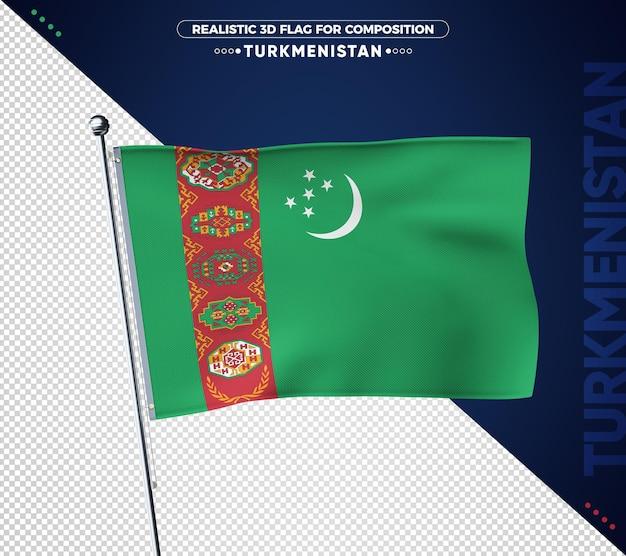 Vlag van turkmenistan met realistische textuur