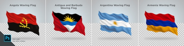 Vlaggen set van angola, antigua, argentinië, armenië vlag ingesteld op transparant
