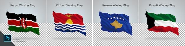 Vlaggen set van kenia, kiribati, kosovo, koeweit vlag ingesteld op transparant