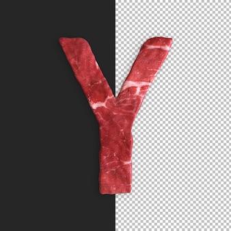Vlees alfabet op zwarte achtergrond, letter y