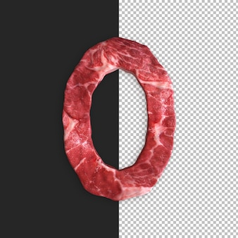 Vlees alfabet op zwarte achtergrond, nummer 0