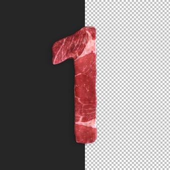 Vlees alfabet op zwarte achtergrond, nummer 1