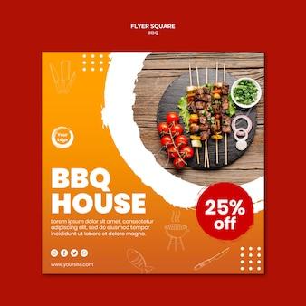 Vlees en groenten spiesen vierkante flyer sjabloon