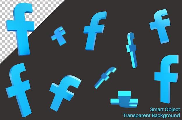 Vliegende facebook social media-logo in 3d-stijl