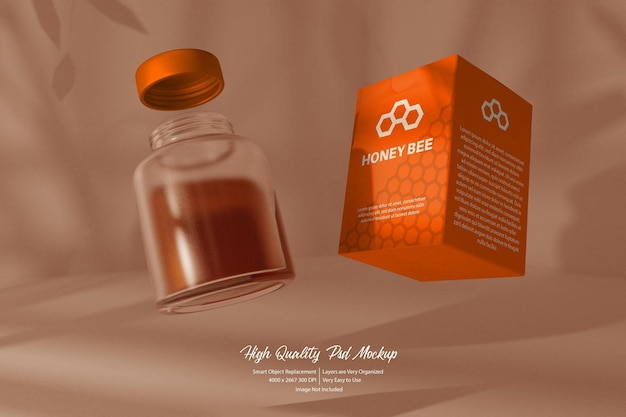Vliegende fles en doos mockup