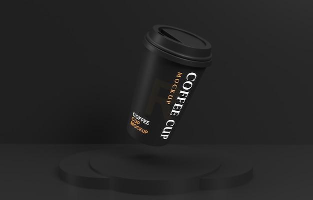 Vliegende koffiekop mockup met productstandaard