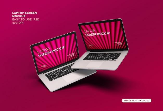 Vliegende laptopscherm mock-up