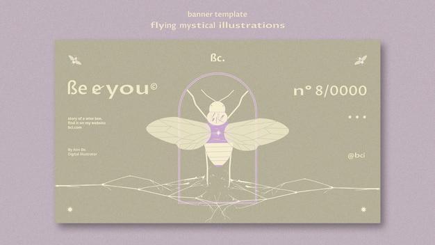 Vliegende mystieke banner websjabloon