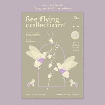 Vliegende mystieke collectie poster sjabloon