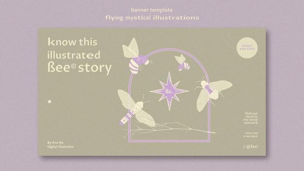 Vliegende mystieke mot banner websjabloon