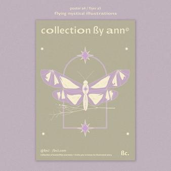 Vliegende mystieke vlinder poster sjabloon