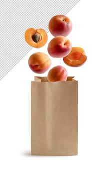 Vliegende perziken in recyclebare papieren zak geïsoleerd 3d-rendering