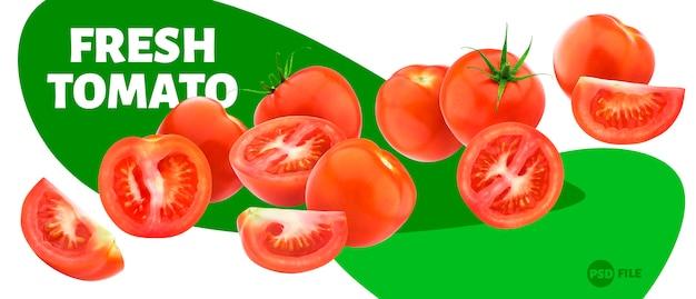Vliegende tomaat die op wit wordt geïsoleerd