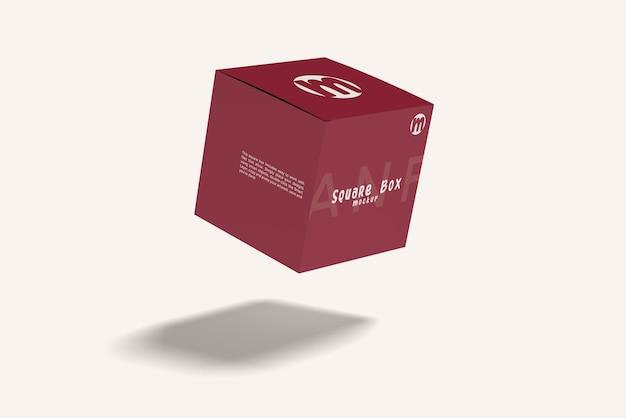 Vliegende vierkante doos mockup ontwerp geïsoleerd