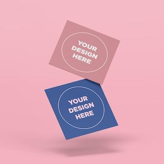 Vliegende vierkante kaarten mockup
