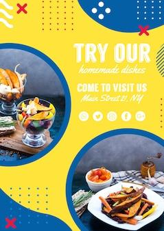Vliegermalplaatje voor restaurant in de stijl van memphis