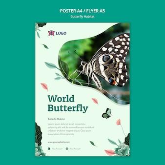 Vlinder habitat concept folder sjabloon