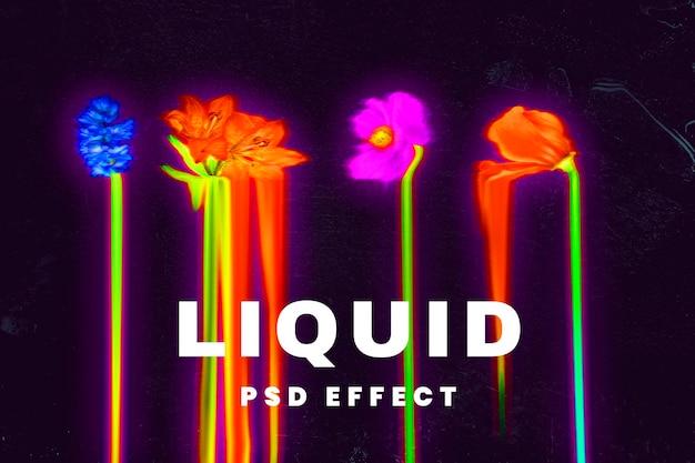 Vloeibaar foto-effect psd in holografische en psychedelische kleuren