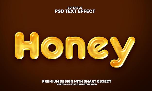 Vloeibaar gele honing 3d bewerkbaar teksteffect