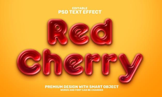 Vloeibaar rood kersen 3d bewerkbaar teksteffect