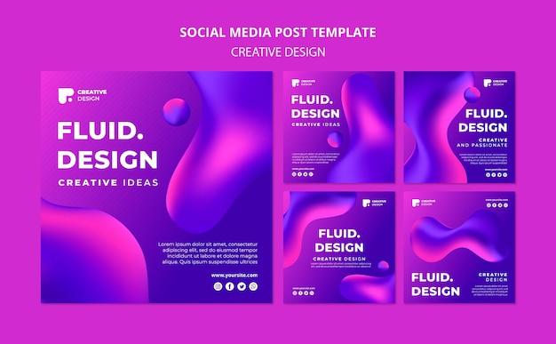 Vloeiende ontwerpsjabloon instagram posts