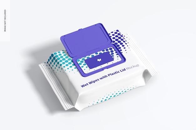 Vochtige doekjes grote verpakking met plastic dekselmodel, bovenaanzicht