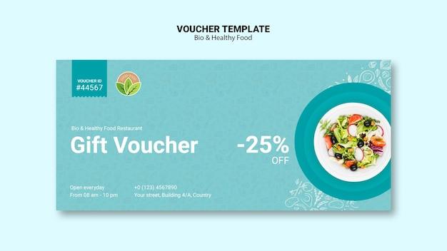 Vocuher van restaurant met gezond voedsel