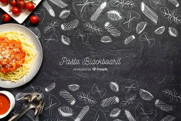 Voedsel achtergronddeegwaren met tomaten