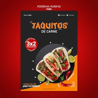 Voedsel flyer en poster sjabloonontwerp