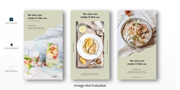 Voedsel instagram verhalen sjabloon set