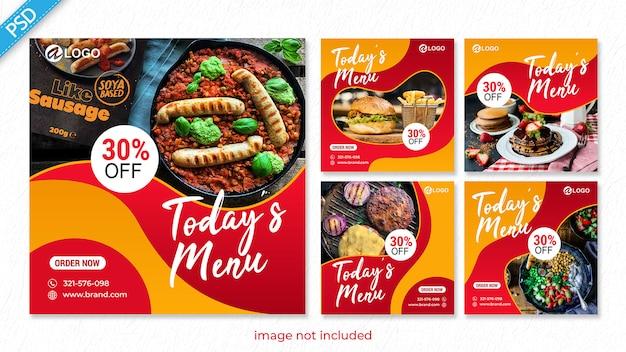 Voedsel voor sociale media instagram postbannersjabloon premium