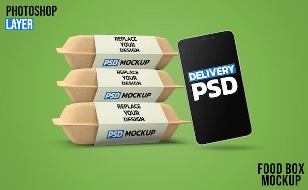 Voedseldoos en smartphone 3d-rendering mockup