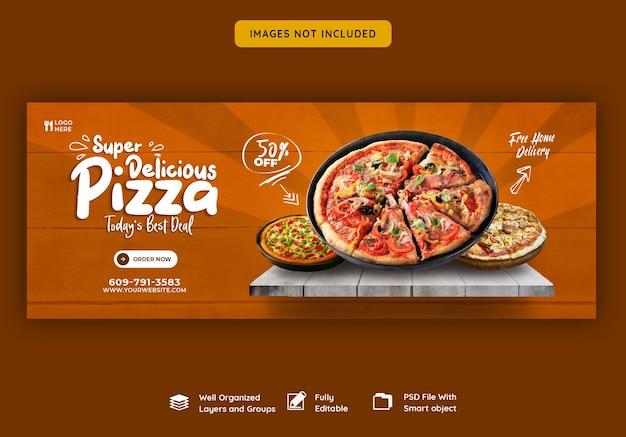 Voedselmenu en heerlijke pizza facebook omslagsjabloon voor spandoek