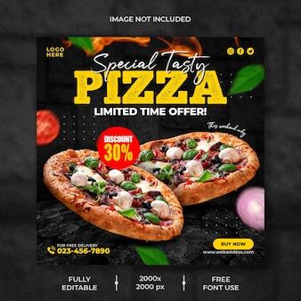 Voedselmenu en heerlijke pizza-postsjabloon voor sociale media